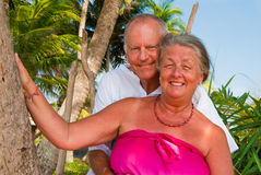 Happy mature hugging. Happy mature couple smiling, hugging in the shade of palm trees on the beach. In the background is the blue sky with palms Stock Photo