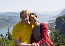 Happy Mature Interracial Couple on Travel Stock Image