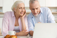 Happy mature loving couple family using laptop computer Royalty Free Stock Image