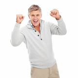 Happy mature man excited isolated Stock Photos