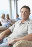 Happy Mature Man At Home Stock Images