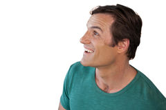 Happy mature man looking up stock image
