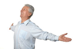 Happy mature man. Portrait of happy mature man isolated on white background royalty free stock photography