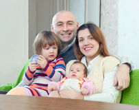 Happy mature man with wife and  children Stock Photography