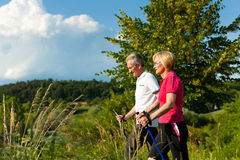 Happy mature or senior couple doing Nordic walking. Nordic Walking - Happy mature or senior couple doing sports in summer outdoors Royalty Free Stock Photo