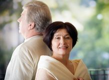 Happy mature smiling couple, outdoor Royalty Free Stock Photos