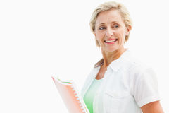 Happy mature student holding notebooks Stock Image