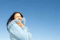 Happy mature winter woman outdoor Royalty Free Stock Photos