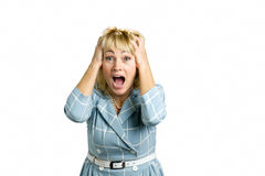 Happy mature woman in astonishment. Stock Images