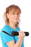 Happy mature woman in blue workout clothes feeling great Stock Photo