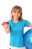 Happy mature woman in blue workout clothes feeling great Royalty Free Stock Image