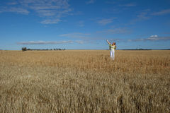 Happy Mature Woman in Field of Wheat Royalty Free Stock Photography