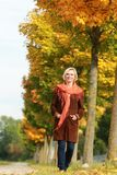 Happy mature woman walks in front of golden autumn leaves Royalty Free Stock Images