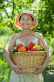 Happy mature woman with harvested vegetables Stock Images