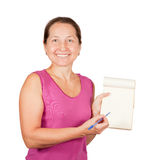 Happy mature woman with notebook Royalty Free Stock Photo