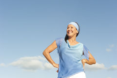 Happy mature woman positive outdoor Stock Photos