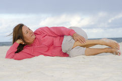 Happy mature woman relaxed and healthy Stock Image