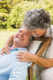 Happy mature woman smiling at her husband Royalty Free Stock Photography