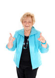 Happy mature woman with thumbs up. Royalty Free Stock Photos