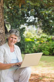Happy mature woman using a laptop sitting on tree trunk Stock Photos