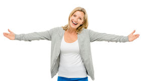 Happy mature woman welcoming isolated on white background Royalty Free Stock Photography