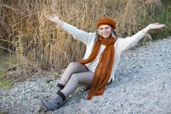Happy matured woman with arms stretched Royalty Free Stock Image