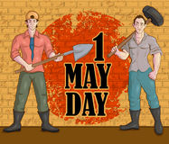 Happy May Day celebration. In vector Royalty Free Stock Photo