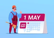 Happy 1 May Labor Day Poster With Builder Or Engineer Over Calendar. Flat Vector Illustration royalty free illustration