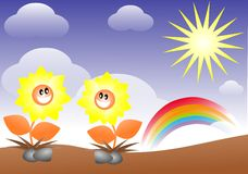 Happy meadow with flowers cartoon Stock Photo