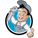 Happy mechanic. Happy helpful mechanic holding tool illustration Stock Image