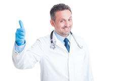 Happy medic or doctor showing like Royalty Free Stock Photography
