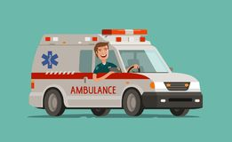Happy medic goes on car. Ambulance service, emergency care, hospital concept. Medicine vector illustration. Happy medic goes on car. Ambulance service, emergency Stock Photos