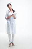 Happy medical doctor holding tablet computer Royalty Free Stock Images