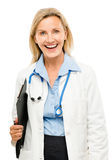 Happy medical doctor woman isolated on white background Stock Image