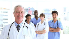 Happy medical team standing upright Royalty Free Stock Images