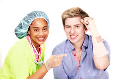 Happy Medical worker and patient Stock Photos