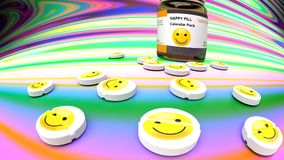 Happy medicine for sadness and nostalgia, psychedelic trippy background in rainbow colors. Happy medicine for sadness and bad mood - happy pills monthly dosage Stock Image