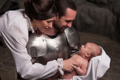 Happy medieval family Stock Photo