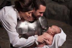 Happy medieval family Stock Photo