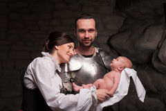 Happy medieval family Stock Images