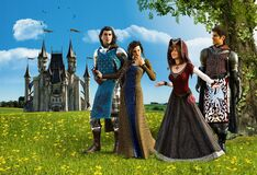 Free Happy Medieval Princes And Princesses Couple Stroll Stock Photos - 174302963
