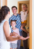 Happy meeting at the doorway Royalty Free Stock Photography
