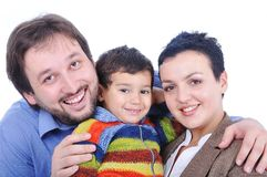 Happy members of young family stock photography