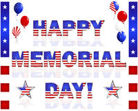 Happy Memorial Day!. Happy Memorial Day, balloons and buttons with a picture of the American flag on a white. Vector illustration Stock Photography