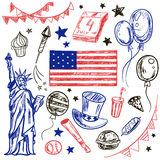 Happy Memorial Day American themed doodle set. Stock Photo