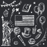 Happy Memorial Day American themed doodle set. Royalty Free Stock Photo