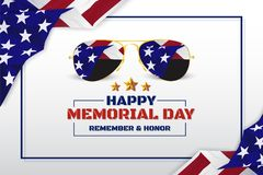 Happy Memorial Day Background Design With USA Flag and Sunglasse Royalty Free Stock Photography