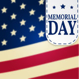 Happy Memorial Day background template. Happy Memorial Day poster. Memorial Dayon top of American flag. Patriotic banner. Vector i Stock Photo