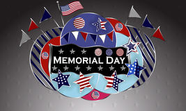 Happy Memorial Day background template. Stars and American flag. Patriotic banner. Vector illustration. Stock Image