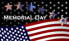 Happy Memorial Day background template. Stars and American flag. Patriotic banner. Vector illustration. Stock Images